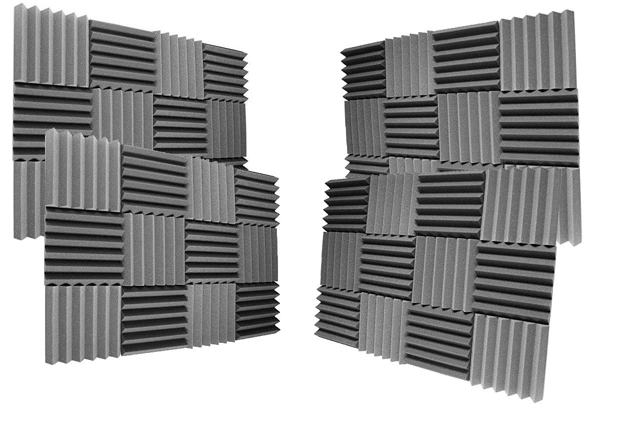 (48Pk) 2''x12''x12'' Charcoal Soundproofing Foam Sheets Acoustic Wall Panels Tiles Studio Foam Sound Proof Padding Wedges Insulation Sound Dampening Foam Recording Studio Equipment Sound Proof (6T)