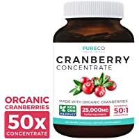 Organic Cranberry Pills - 50:1 Concentrate Equals 25,000mg of Fresh Cranberries...
