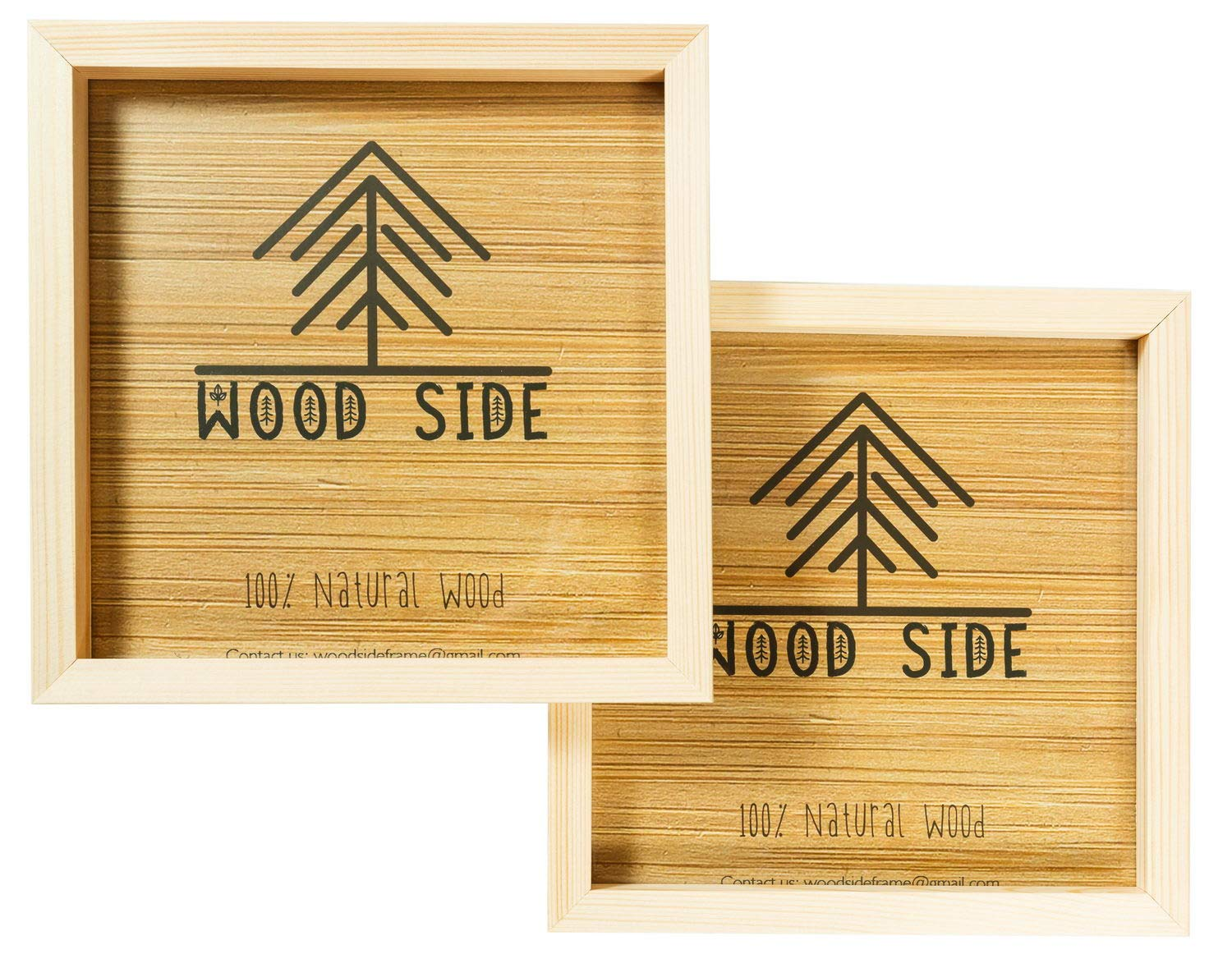 Wooden Square Picture Frames 8x8 inch with Real Glass - Set of 2-100% Eco Unfinished Wood - Thick Borders - Natural Wood Color for Wall Mounting Photo Frame by Wood side