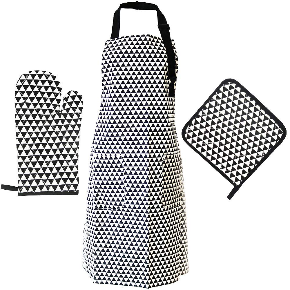 Evoio Adjustable Bib Apron, Kitchen Chef Apron Oven Mitts & Pot Holder - Durable, Professional, Machine Washable, Comfortable Tool kit for Cooking, Baking, Barbecue