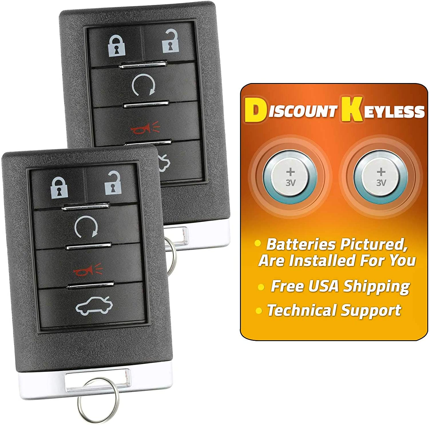2 Pack Discount Keyless Replacement Key Fob Car Remote Compatible with OUC6000066 850K-6000066