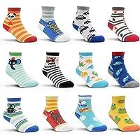 12 Pairs Kids Non Slip Skid Socks Grips Sticky Slippery Cotton Crew Socks For 1-...