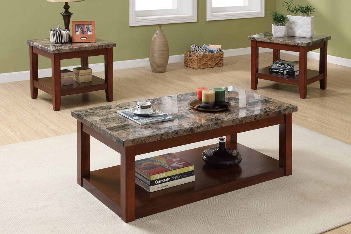 Amazon.com: 3pc Coffee Table And End Tables Set With Marble Top: Kitchen U0026  Dining