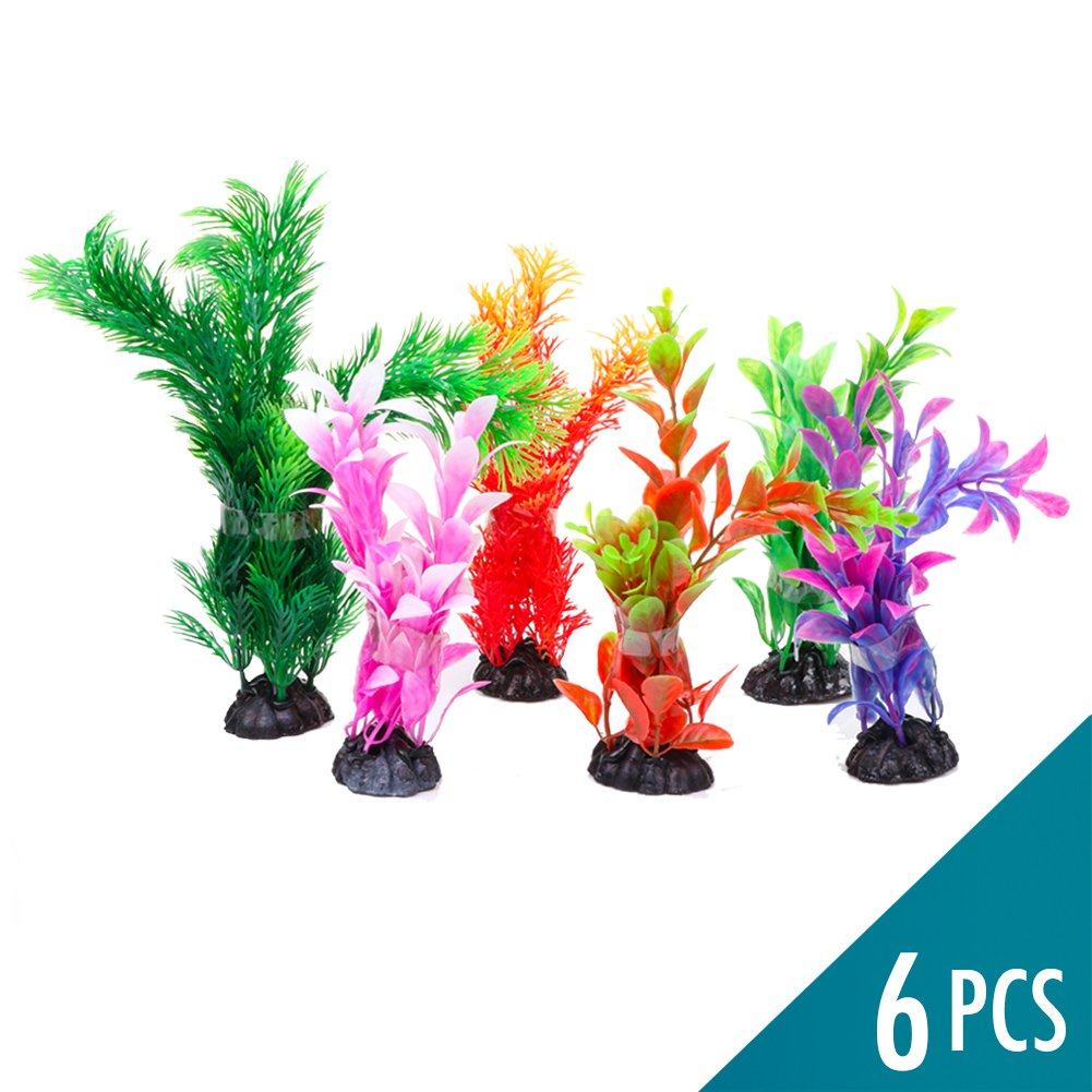Fish Tank Aquarium Decorations 6 Pcs Artificial Plants Decoration Accessories Ornament Plastic 5.9 to 6.7 Inches with Ceramic Base Non-Toxic Fade-Resistant Vivid Colors