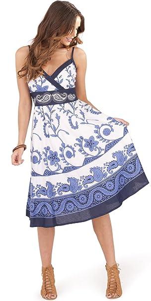 85a64bf84 Vestido Floral de Dama Pistachio con Cruzado Frontal para el Verano   Amazon.es  Ropa y accesorios