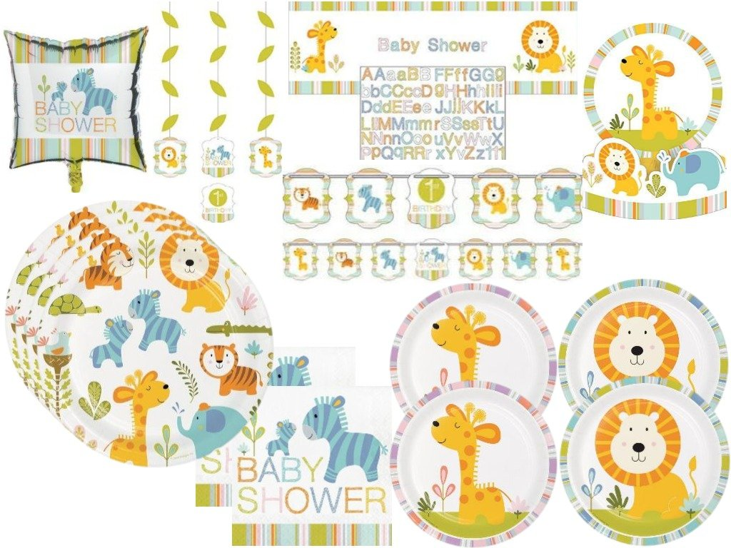 Baby Shower Happi Jungle Safari Lion, Giraffe, Turtle, Elephants Deluxe Party Tableware & Decorations Kit for 32 Guests by Paper Art