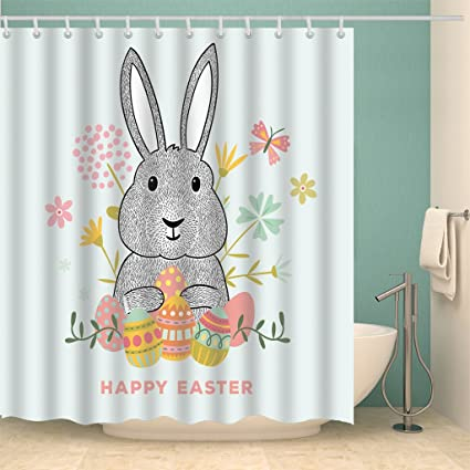 Easter Rabbit Shower Curtain For BathroomBIOSTON Mildew Resistant Waterproof Digital Printing Polyester Fabric Colorful