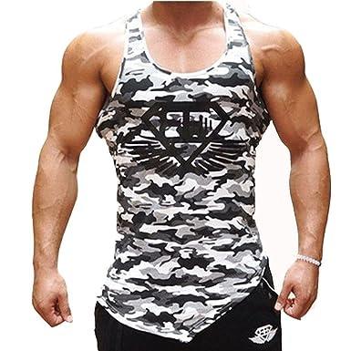 69b28b2de0c13e Amazon.com  Mens Camo Muscle Bodybuilding Gym Stringer Tank Tops Workout  Fitness Vest Camouflage  Clothing