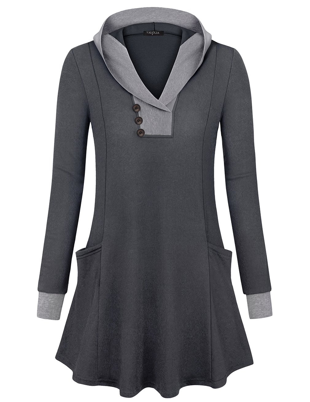 VALOLIA Sweatshirts for Women, V Neck Long Sleeve Tunic Top Pullover Hoodie for Leggings Carbon Black Medium