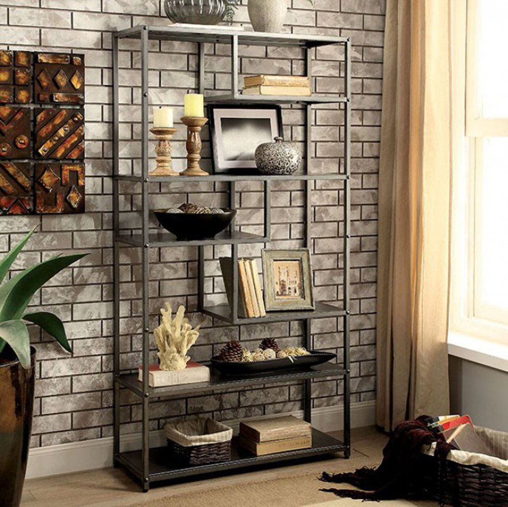 Furniture of America CM-AC521 Susie Powder Coated Gray Display Shelf by Furniture of America