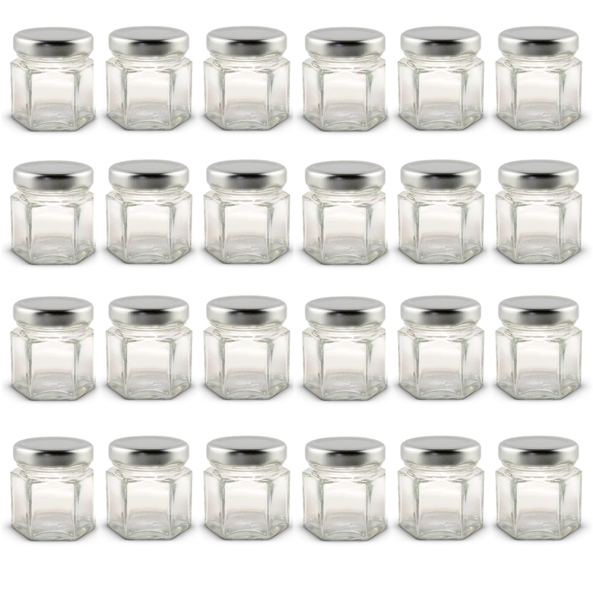 1.5 oz Hexagon Mini Glass Jars with Silver Lids and Labels (Pack of 24)