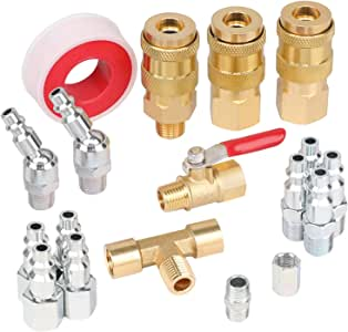 2 Pieces 1//4 Inch Hose Barb with 1//4 Inch MNPT Threads WYNNsky 2 Pieces 1//4 NPT Brass Tee Fittings 4 Pieces Brass Pipe Fittings