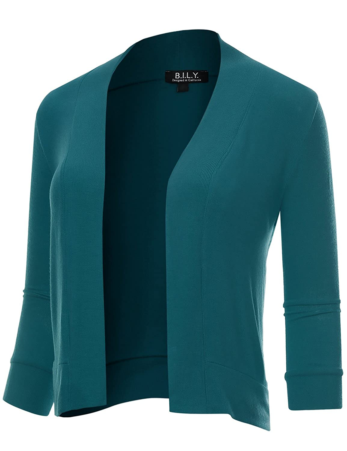 BH B.I.L.Y USA Women's Classic Open Front Cropped 3 4 Sleeve Cardigan Teal XXXLarge