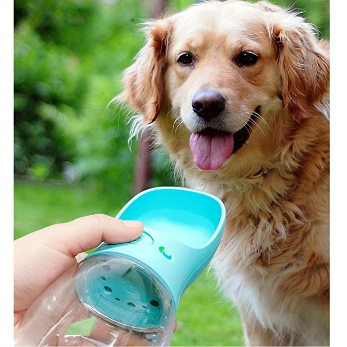 Lelestar Taza de animales Botella de agua a prueba de pérdida Copa de agua Hervidor de viaje portátil al abierto cuenco de agua Gatos Bebedor de perros: ...