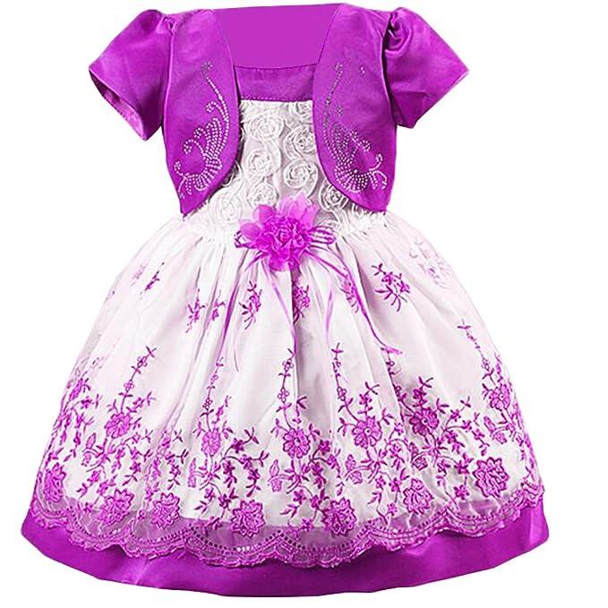 Waboats floral para niña Vestido con estampado Noche Vestidos de Fiesta Boda Morado 1 Años