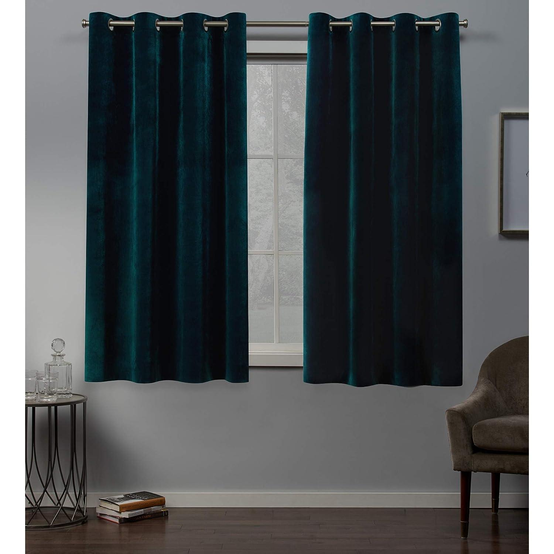 Teal 54x63 Exclusive Home Velvet Grommet Top Curtain Panel Pair, Winter White, 54x96, 2 Piece