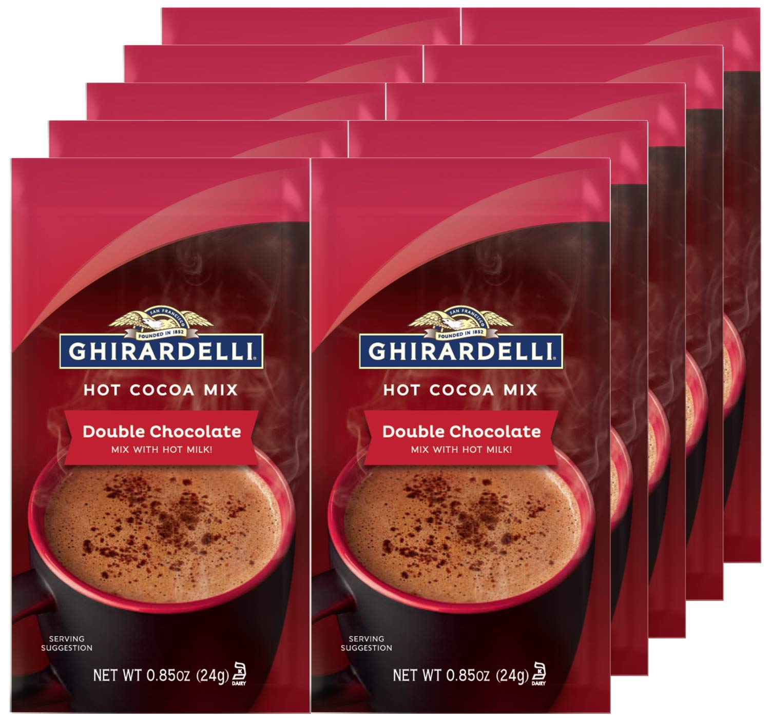 Ghirardelli Double Chocolate Hot Cocoa Mix, 0.85-Ounce Packets (Pack of 10)