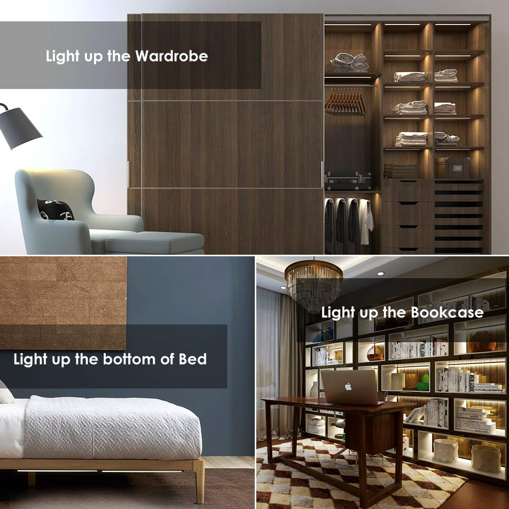 LED Under Cabinet Lighting, Teckin Touch Control Under Closet Light, Dimmable Counter Light with Ultra Slim Linkable Light Bars for Cupboard Kitchen Wardrobe Stairway, Daylight Nature 4000K, 3 Pack by TECKIN (Image #9)
