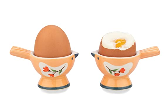 WD- 2 Pcs Cute couple Bird Figurine - Ceramic serve egg cups for soft or hard boiled eggs (Egg holder) - for Breakfast Brunch,kitchenware, home decoration or even a gift-Orange color