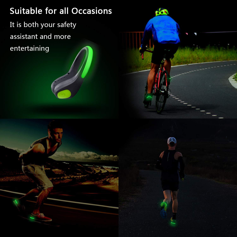 correas de seguridad para Nihgt Running 2 brazaletes y 2 clips para zapatos ciclismo Luces LED para zapatos con clip luminoso de seguridad para correr con banda reflectante para brazos camping Coastar
