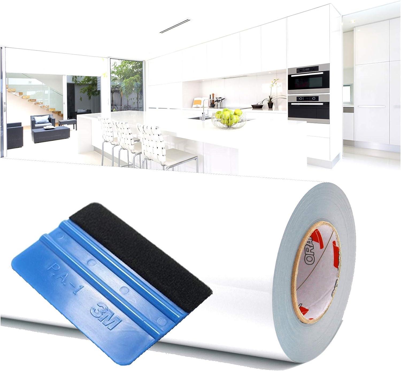 Finest Folia (1,98 €/m²) 10 m Lámina para Trazar Plotter Film Película Adhesiva Hoja de Muebles Brillante Escobilla de Goma Incluida (Blanco, Alto Brillo): Amazon.es: Hogar