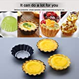 Amytalk 12 Packs Egg Tart Mold, Size 2.6 x 0.9inch, Cupcake Cake Muffin Mold Tin Pan Baking Tool, Carbon Steel