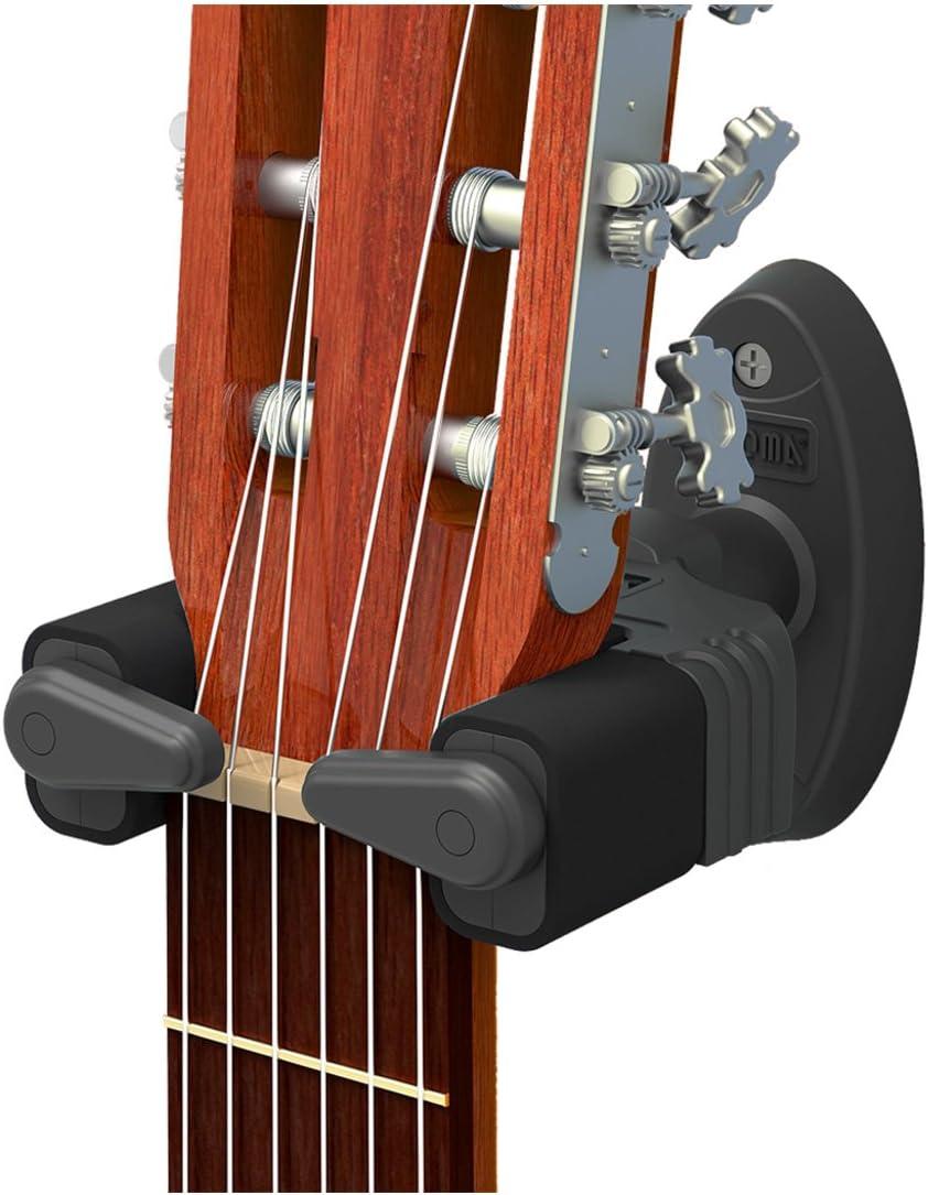 CANTUS - Soporte de pared con bloqueo automático para guitarras acústicas, eléctricas y bajos, negro