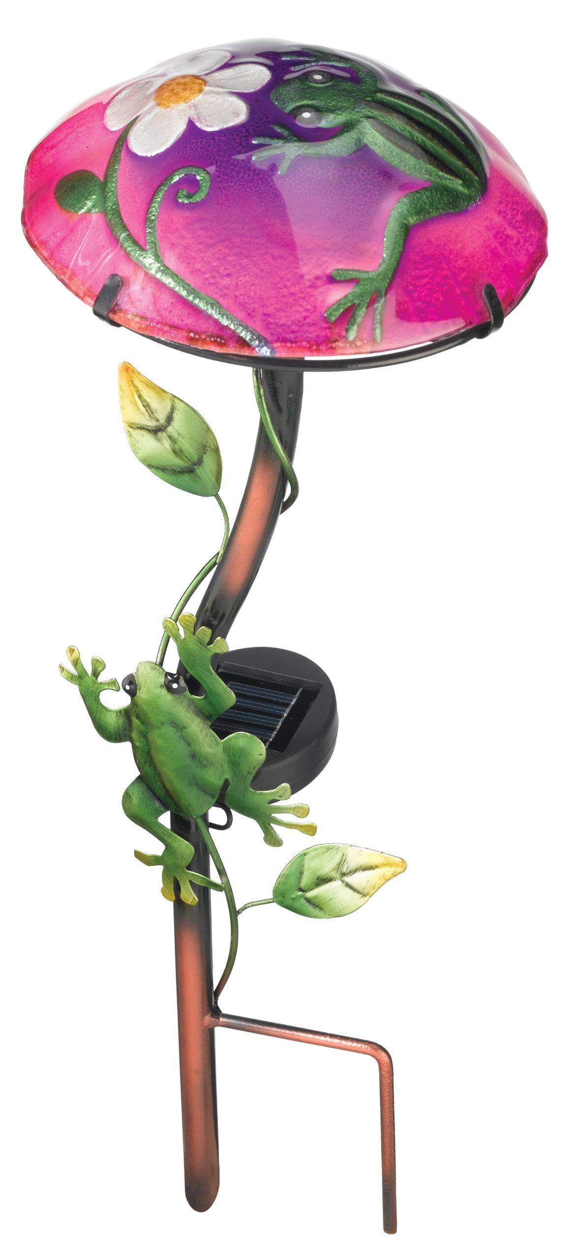 Regal Art &Gift Solar Mushroom Stake Frog  Garden Decor