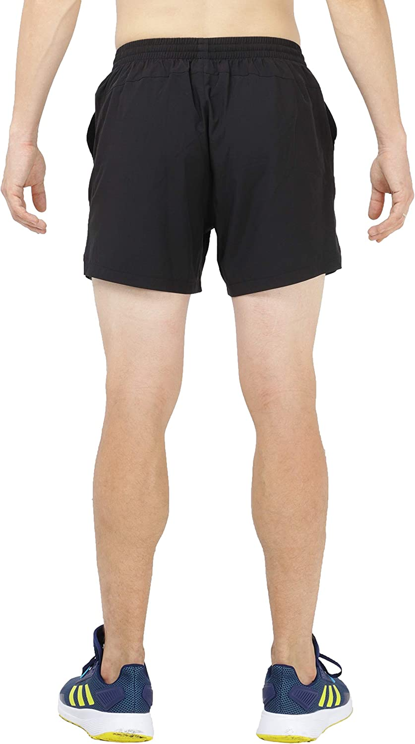 MIER Mens Workout Running Shorts Quick Dry Active 5 Inches Shorts with Pockets Lightweight and Breathable Black