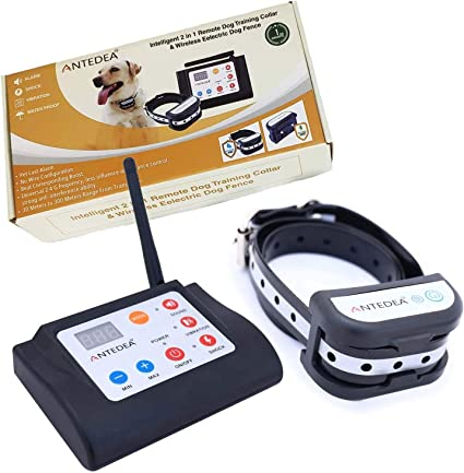 Safe Dog Containment System Wireless Fence Tone /& Shock Working Mode Adjustable Range Up to 1000 Feet /& LED Distance Display IP65 Waterproof /& Rechargeable Collar Electric Dog Fence Wireless