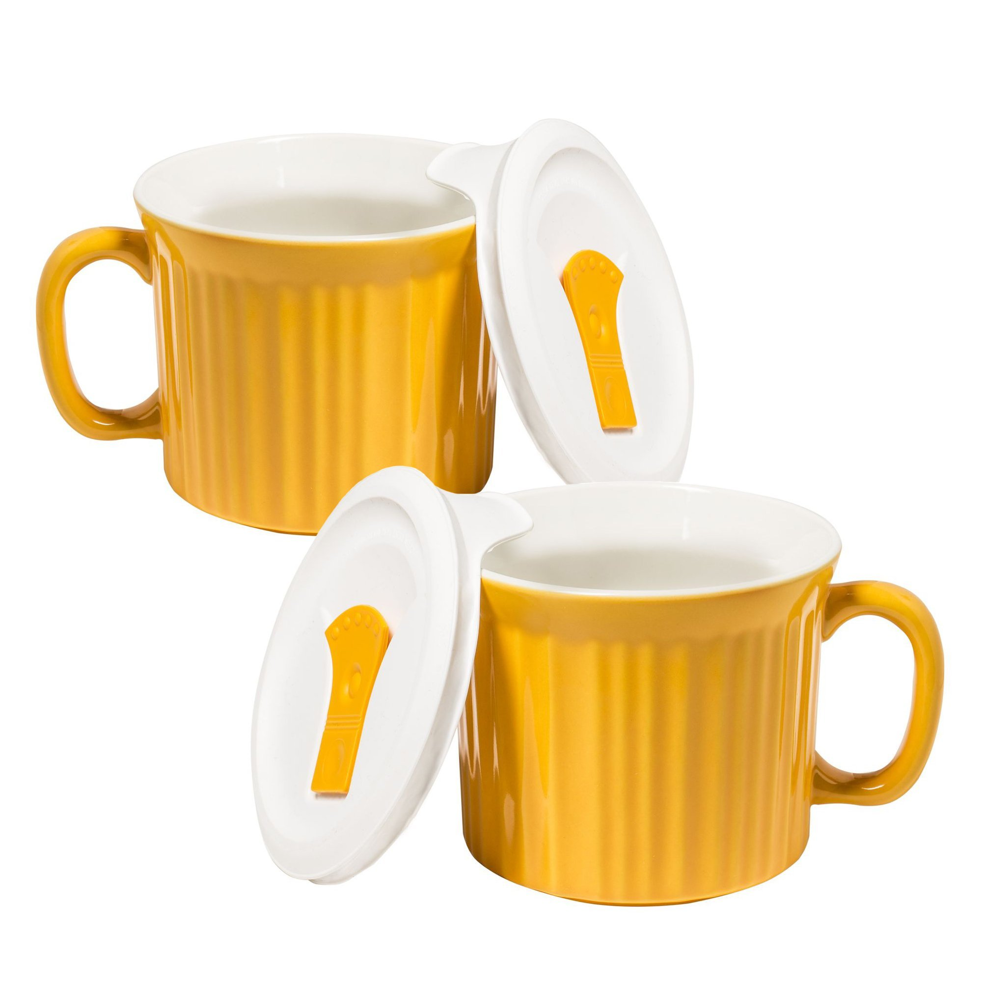 Corningware 20-Ounce Oven Safe Meal Mug with Vented Lid, Sunflower, Pack of 2