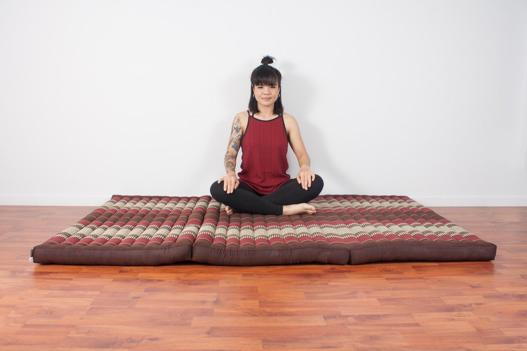Leewadee Thai Massage Mat XL, 82x46x3 inches, Kapok, brown red by Leewadee (Image #4)