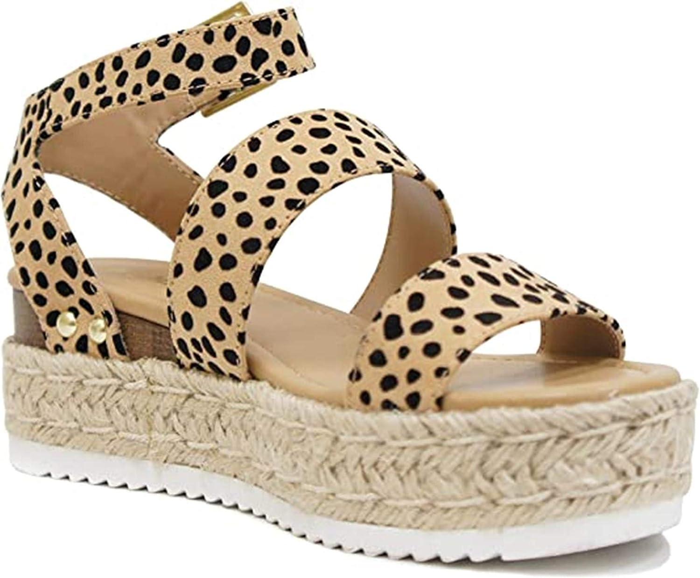 Open Toe Ankle Strap Espadrille Sandal