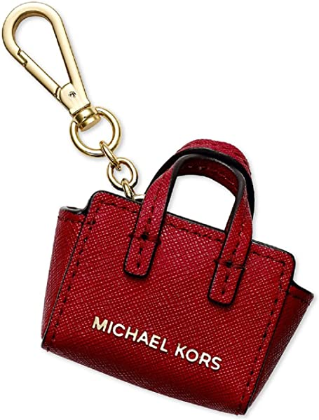 Michael Kors Key Charms Selma Key Fob in Red Leather