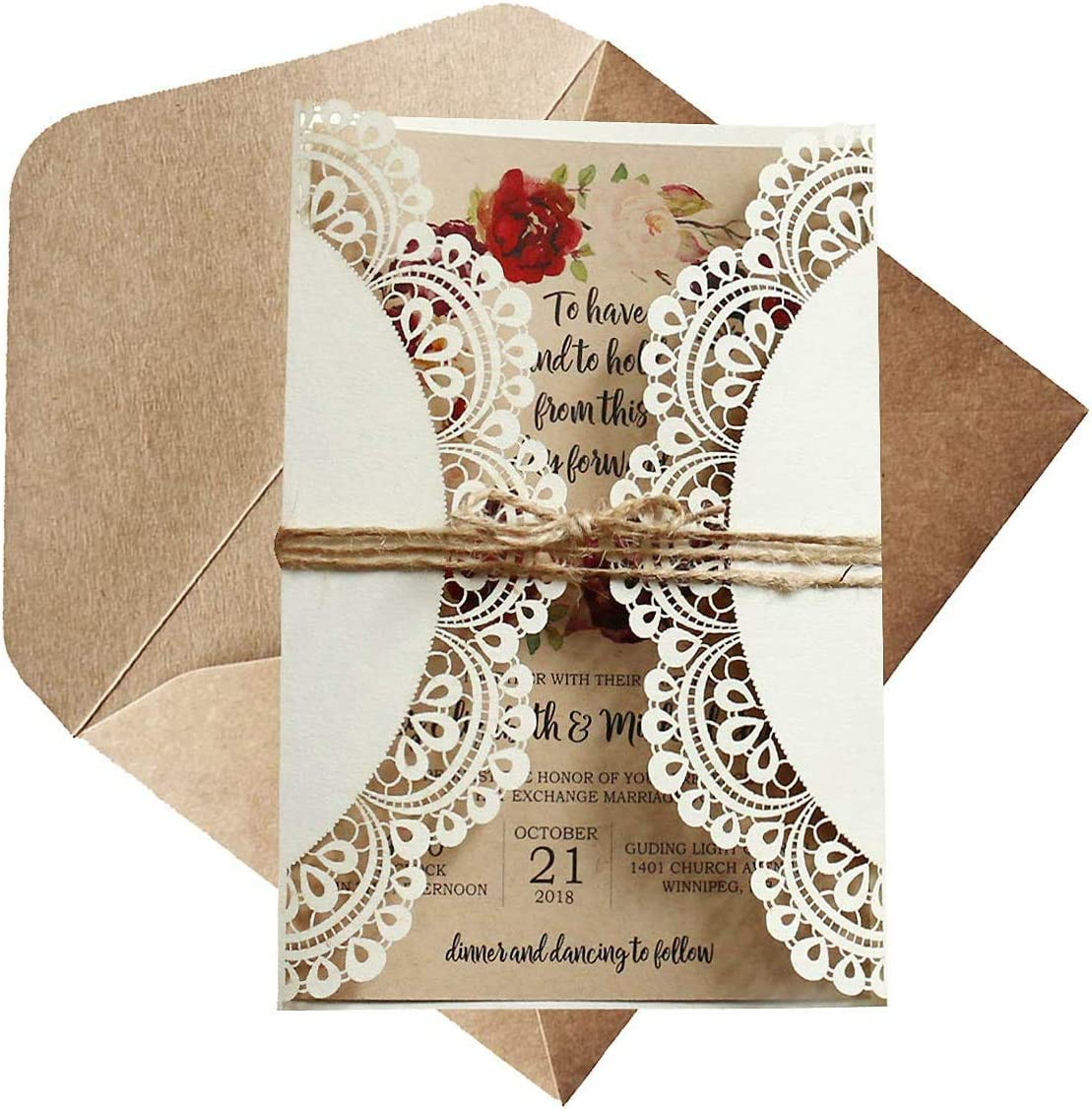 Off White Rustic Wedding Invitations Kraft Paper Invitation Cards Laser-Cut  Invitations DIY Bridal Shower Invites - Set of 3 pcs (Blank Invitations)