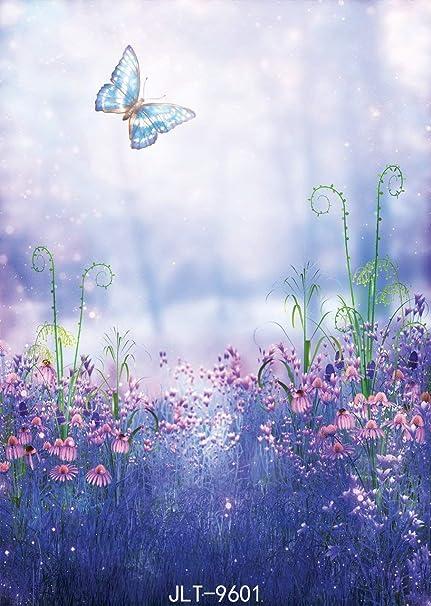 Joneaj Jlt9601 Sfondo Fotografico Naturale Con Farfalle E Fiori