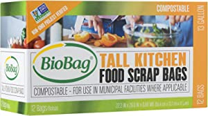 (3 Pack) BioBag 13 Gallon Tall Kitchen Bags / Food Waste Bag, 12 Bags per Box (Total 36 Bags)