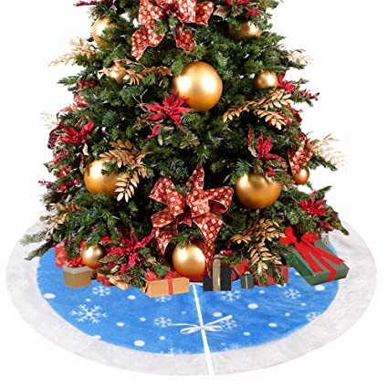 d fantix 36 inch velvet christmas tree skirt christmas decorations blue and white - Amazon Christmas Decorations