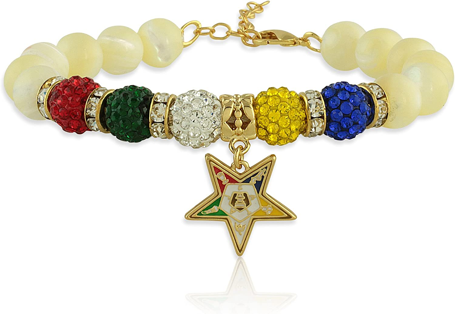 Order of The Eastern Star Mother of Pearl Gemstone Charm Bracelet with Gold Tone Extender Chain and Lobster Claw Clasp (Fits Wrists 7 to 9.5 inches)