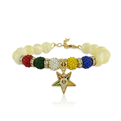 55177adbd Amazon.com: Order of The Eastern Star Mother of Peal Gemstone Charm Bracelet  with Gold Tone Extender Chain and Lobster Claw Clasp (Fits Wrists 7 to 9.5  ...