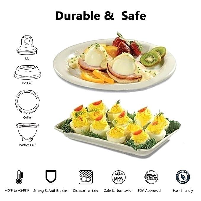 Huevo con separador de huevos, como se ve en la TV, huevo hervido, duro hervido, sin BPA, para cocinar huevos duro y suave, no concha (6 + 1 paquete): ...