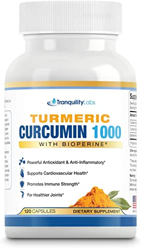 Turmeric Curcumin 1000 with BioPerine Black Pepper – Max Absorption, 95 Curcuminoids – Joint Pain Relief, Anti Inflammatory, Cardiovascular, Digestive, Immune Support, 120 caps