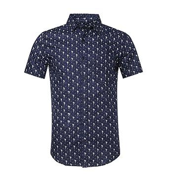 23b84564 TOPORUS Mens Casual Swan Printed Short Sleeve Button Down Shirts B-Navy S