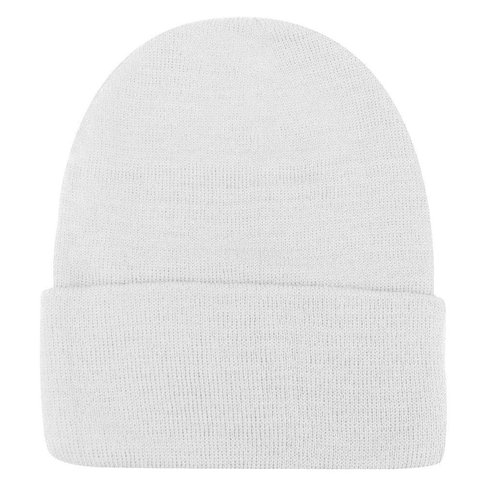 Weixinbuy Unisex Women Warm Plain Beanie Hats Slouchy Cap White