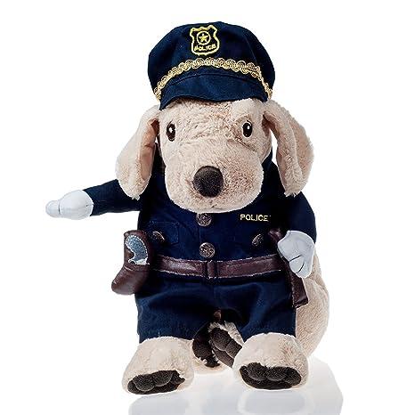 L-Peach Disfraz de Policía Ropa Traje Uniforme para Mascotas Animal Doméstico Gato Perro con Dos Patas y Gorro para Halloween Navidad S