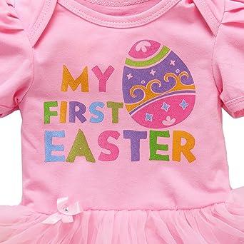 Erstes Ostern Kleid Kurzarm Body Stirnband Party Set Neugeborene Baby Mädchen 1