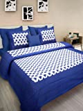 UHF Rajasthani Print Cotton Double Bedsheet with 2 Pillow Covers Bed Cover Bedding Set Blue