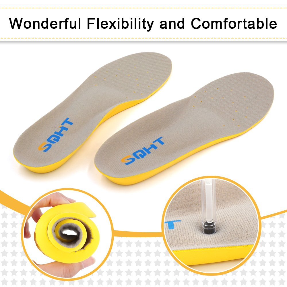 Athletic Running Shoe Insoles Comfort Foam Insert Providing Excellent Shock Absorption and Neutral Arch Support, Orthotic Insoles (S | 1~4.5 Big Kids/4~6 Women\'s)