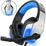 Gaming Headset pour PS4 Xbox One PC Controller, DIZA100 V4 Gaming Gaming avec Aluminiumgehäuse, Mikrofon, LED Light Bass Surround pour ordinateur portable Mac Nintendo Switch Spiele bleu