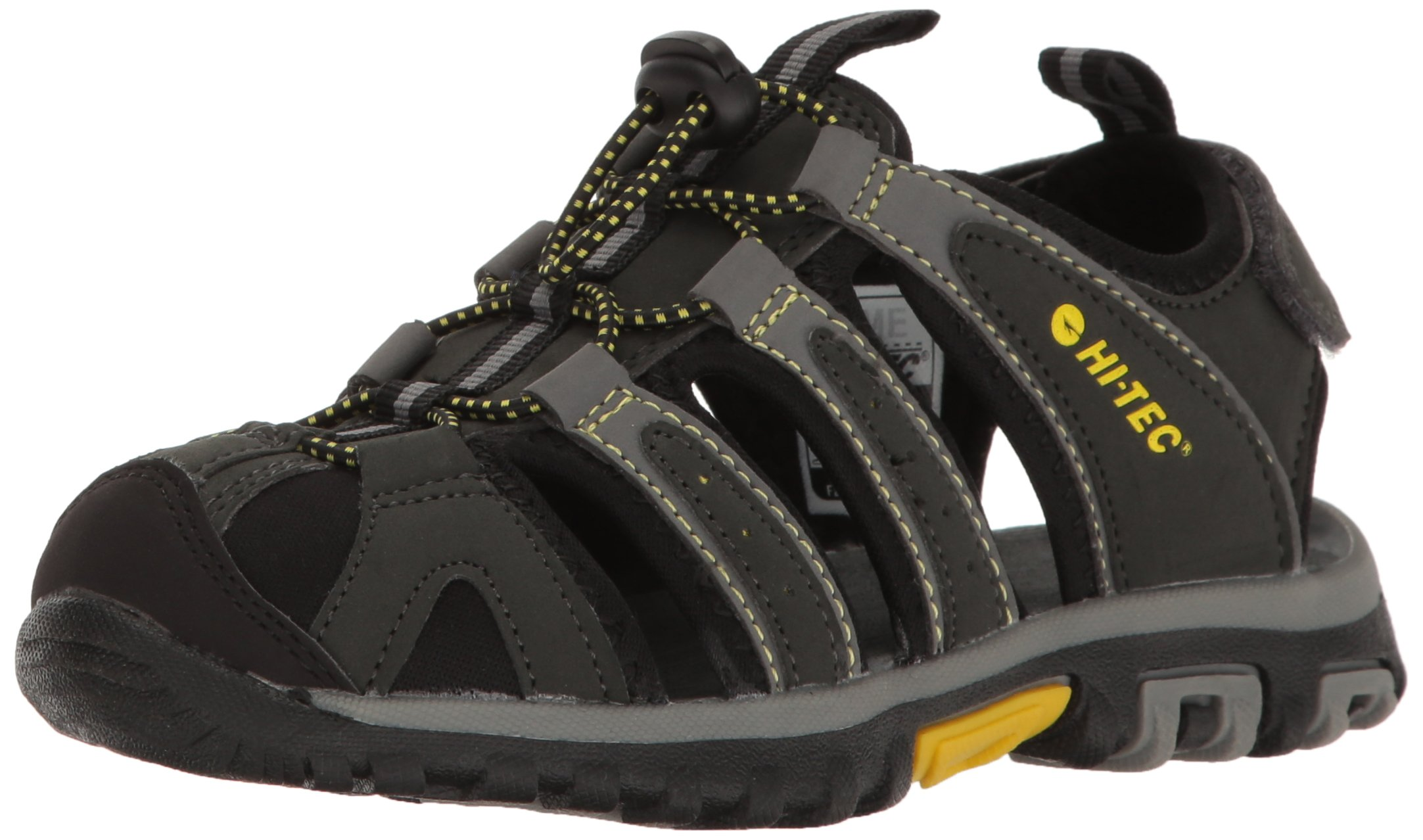 Hi-Tec Boys' Cove Jr Sandal, Black/Charcoal/Super Lemon, 11 M US Little Kid